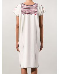 Ulla Johnson - Natural Embroidered Neck Shift Dress - Lyst