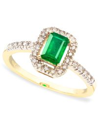 Macy's | Metallic 14k Gold Emerald Cut Emerald (3/8 Ct. T.w.) & Diamond (1/8 Ct. T.w.) Ring | Lyst