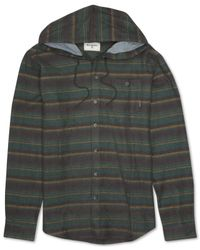 Billabong | Green Upstate Hooded Stripe Flannel Sweatshirt for Men | Lyst