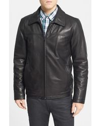 Vince Camuto - Black Insulated Leather Moto Jacket for Men - Lyst