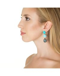 Emily & Ashley | Gold Fruity Pebble Earring, Turquoise And Blue Topaz | Lyst