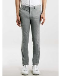 TOPMAN - Gray Grey Melange Ultra Skinny Fit Suit Trousers for Men - Lyst