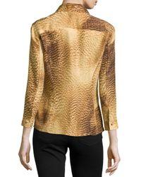 ESCADA - Brown 3/4-sleeve Printed Blouse - Lyst