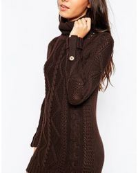 Vero Moda - Brown Roll Neck Cable Knit Sweater Dress - Lyst
