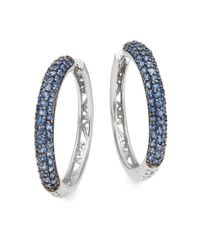 Effy | Metallic Sapphire & 14k White Gold Hoop Earrings | Lyst