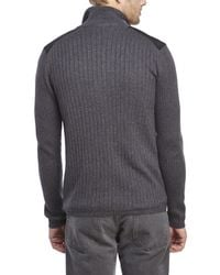 DKNY - Gray Ribbed Zip-Up Sweater for Men - Lyst