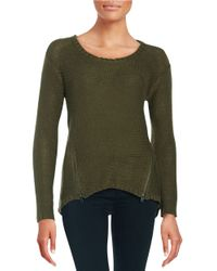 Lord & Taylor - Green Hi-lo Zip Sweater - Lyst