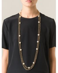 Edward Achour Paris - Metallic Faux Pearl Chain Necklace - Lyst