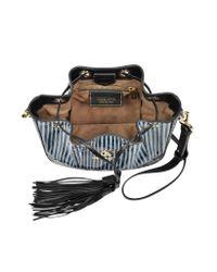 Roberto Cavalli | Drawstring Powder Blue Elaphe Snakeskin Bucket Bag | Lyst
