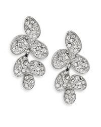 Ak Anne Klein - Metallic White Stone Cluster Drop Earrings - Lyst