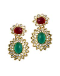 Kenneth Jay Lane - Multicolor Emerald & Ruby Drop Clip Earring - Lyst