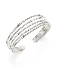 John Hardy - Metallic Bamboo Diamond & Sterling Silver Five-Row Cuff Bracelet - Lyst