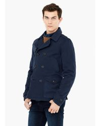Mango - Blue Cotton-blend Trench Coat for Men - Lyst