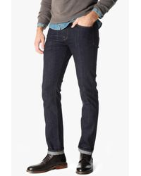 7 For All Mankind | Blue Stretch Selvedge Slimmy Slim Straight With Split Seam Pocket In Dark Indigo for Men | Lyst