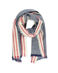 Forever 21 | Blue Frayed Stripe-patterned Scarf | Lyst
