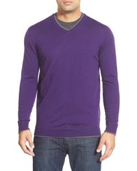 Bugatchi - Purple Tipped Merino Wool V-neck Sweater for Men - Lyst