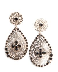 Mango - Metallic Touch Strass Flower Earrings - Lyst