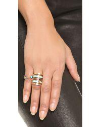 Pamela Love | Blue Pluma Ring - Brass/turquoise | Lyst