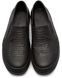 Rick Owens - Black Snakeskin Boat Sneakers for Men - Lyst