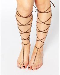 ASOS | Brown Pack Of 2 Knee High Suede Look Tassel Anklets | Lyst
