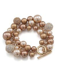 Carolee | Natural Faux Pearl Cluster Bracelet | Lyst