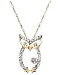 Macy's | Metallic 14k Gold Pendant, Diamond Accent Owl | Lyst