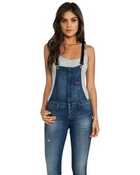 Frankie B. Jeans - Hipster Overall with Leather Strap in Blue - Lyst