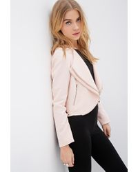 Forever 21   Pink Zippered Tiered-lapel Jacket   Lyst