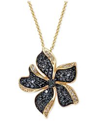 Effy Collection | Metallic Effy Black And White Diamond (1-1/6 Ct. T.w.) Flower Pendant Necklace In 14k Gold | Lyst