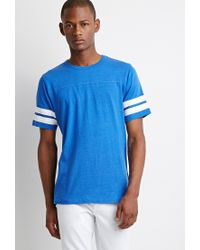 Forever 21 | Blue Varsity-stripe Tee You've Been Added To The Waitlist for Men | Lyst