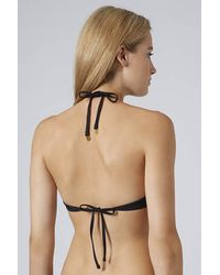 TOPSHOP - Black Plunge Bikini Top - Lyst