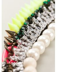 Venna - Metallic Pearly Spiked Collar - Lyst