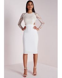 11789d4f54f3b Lyst - Missguided Lace Long Sleeve Cut Out Midi Dress White in White