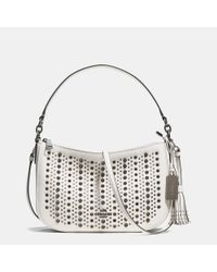 COACH - Black All Over Studs Chelsea Crossbody In Pebble Leather - Lyst