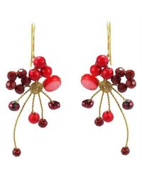 Aeravida | Abstract Star Cluster Red Stone Crystal Brass Earring | Lyst