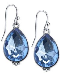 2028 | Silver-Tone Blue Crystal Drop Earrings | Lyst