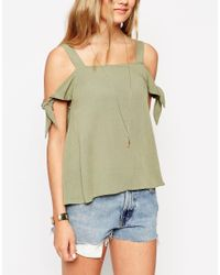 ASOS | Brown Casual Cold Shoulder Cami Top | Lyst