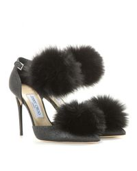 Jimmy Choo - Black Dolly 100 Glitter And Fur-trimmed Pumps - Lyst