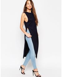 ASOS | Blue Maxi Tunic Top With Side Splits | Lyst