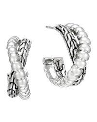 John Hardy - Metallic Classic Chain Silver Small Twist Hoop Earrings - Lyst