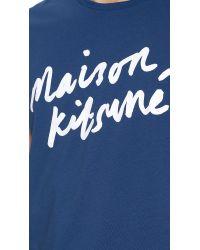 Maison Kitsuné - Blue Handwriting T-Shirt for Men - Lyst