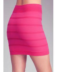 Bebe - Pink Ottoman High Waist Skirt - Lyst