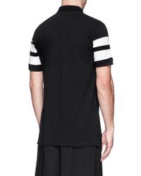 Givenchy - Black Contrast Band Cotton Polo Shirt for Men - Lyst