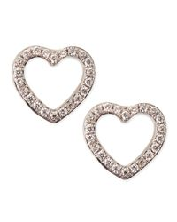 KC Designs - White Gold Diamond Heart Stud Earrings - Lyst