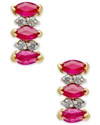 Macy's - Metallic Ruby (3/4 Ct. T.w.) And Diamond Accent Earrings In 14k Gold - Lyst