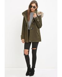 Forever 21 - Green Faux Fur-trimmed Jacket You've Been Added To The Waitlist - Lyst