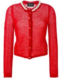 Simone Rocha - Red Pearl Trimmed Neck Lace Knit Cardigan - Lyst
