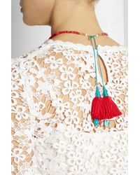 Aurelie Bidermann - Red Gold-Plated, Turquoise, Coral, Bamboo And Shell Necklace - Lyst