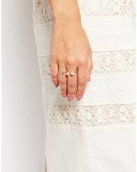 ASOS | Metallic Open Pretty Ring Pack With Faux Pearl | Lyst