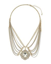 Mikey | Metallic Large Crystal Pendant Hanging Chains Nec | Lyst